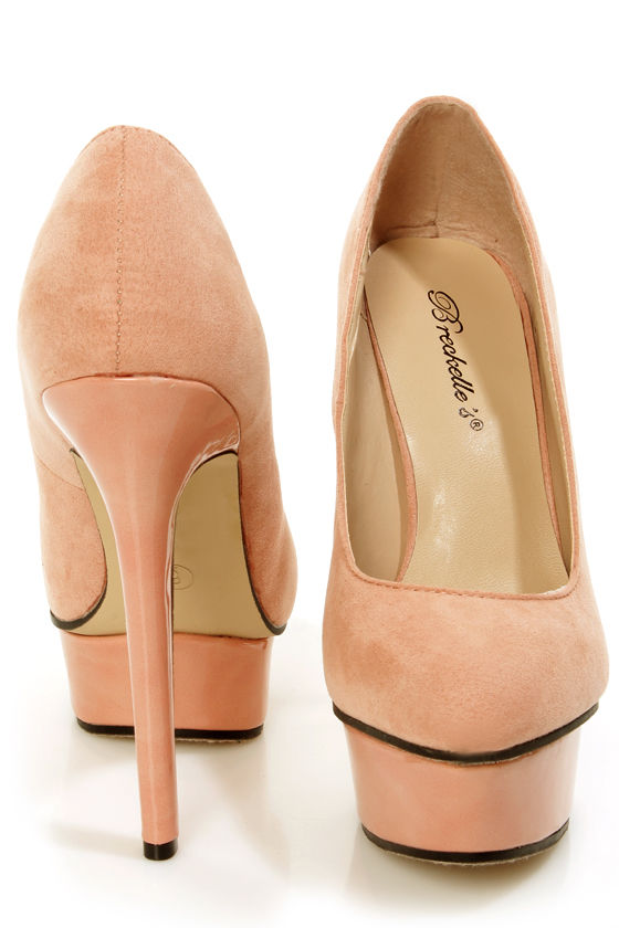 Chloe 01 Blush Pink Suede and Patent Platform Pumps at Lulus.com!