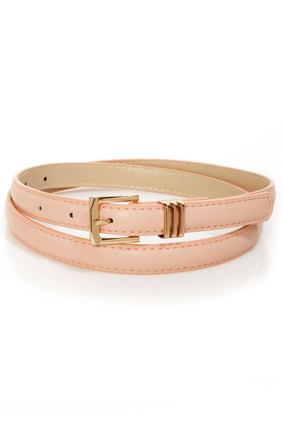 Triple Digits Peach Skinny Belt at Lulus.com!