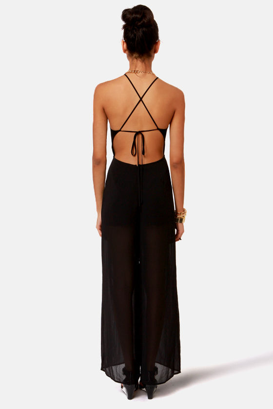 Livin' Large Backless Black Jumpsuit at Lulus.com!