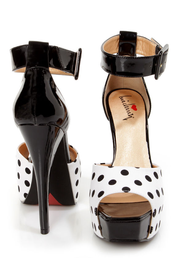 Luichiny Easy Goin Black and White Polka Dot Platform Heels at Lulus.com!