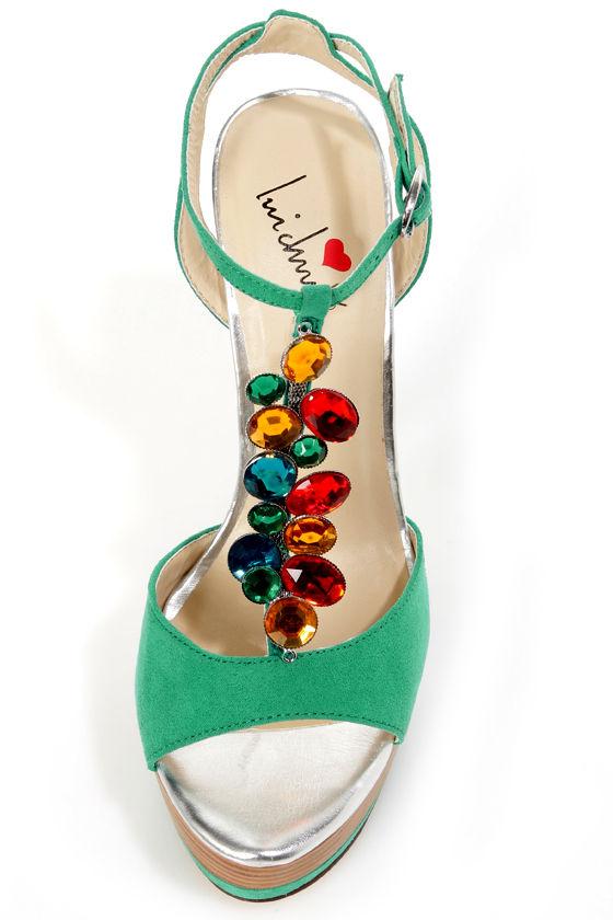 Luichiny Ab Illene Aqua Bejeweled T-Strap Platform Sandals at Lulus.com!