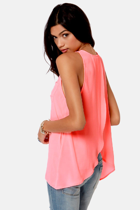For the Win Neon Coral Tank Top at Lulus.com!