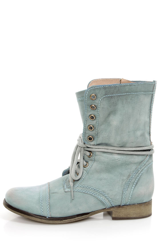 6ade66c15ae Steve Madden Troopa Blue Leather Lace-Up Combat Boots