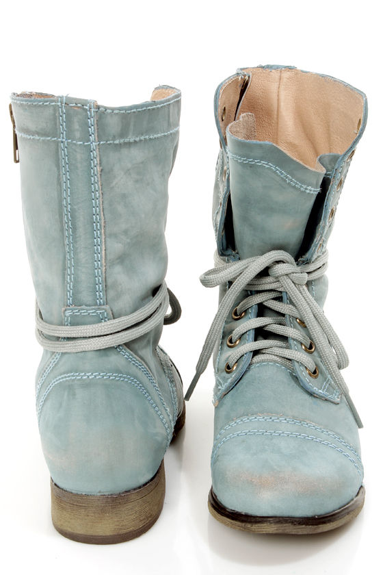 Steve Madden Troopa Blue Leather Lace-Up Combat Boots - $99.00