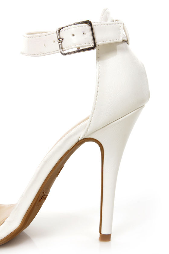 Anne Michelle Enzo 01 White Ankle Strap Heels at Lulus.com!