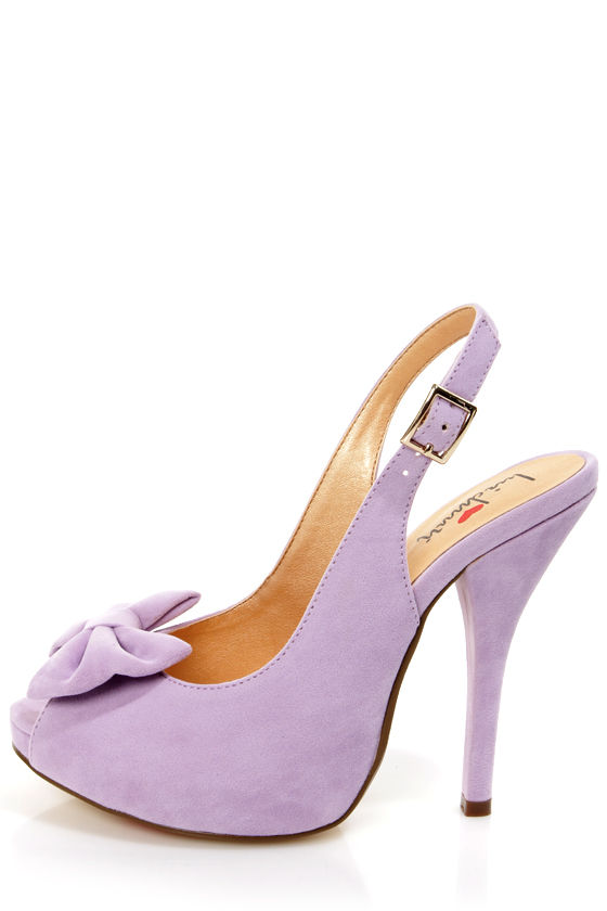 Luichiny Taylor Lilac Suede Bow Peep Toe Slingback Heel - $69.00