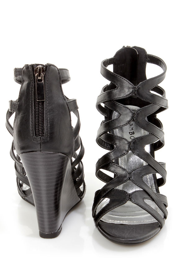 a1d4324e12b Bamboo Royce 02 Black Strappy Cage Wedge Sandals -  36.00