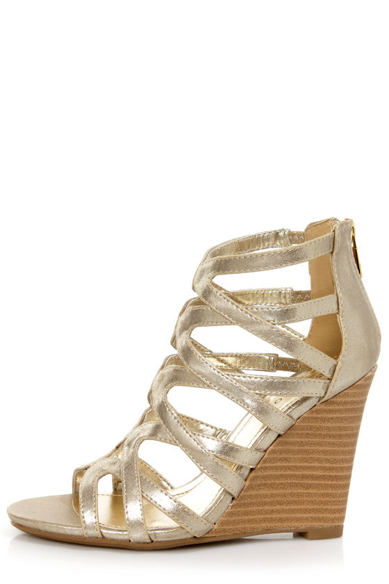 b6c610526242 Bamboo Royce 02 Gold Metallic Strappy Cage Wedge Sandals -  36.00