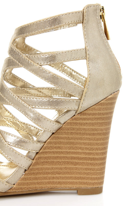 Bamboo Royce 02 Gold Metallic Strappy Cage Wedge Sandals at Lulus.com!