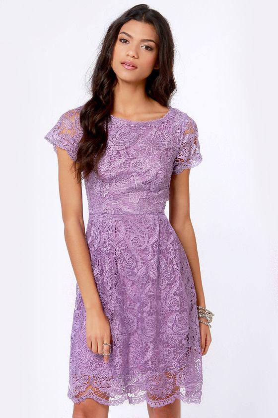 Pretty Lavender Dress - Lace Dress - Backless Dress - $70.00
