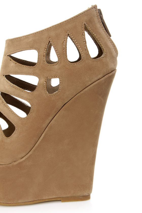 Dollhouse Caged Nude Cutout Peep Toe Platform Wedge Booties at Lulus.com!