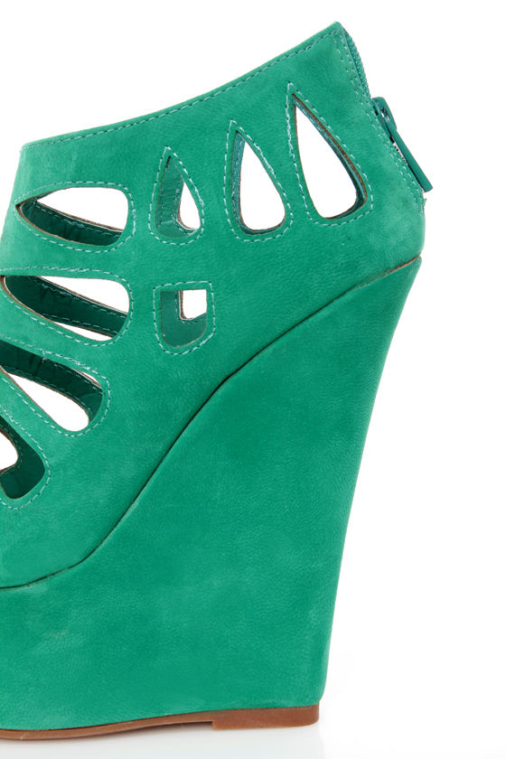 Dollhouse Caged Sea Green Cutout Peep Toe Platform Wedge Booties at Lulus.com!