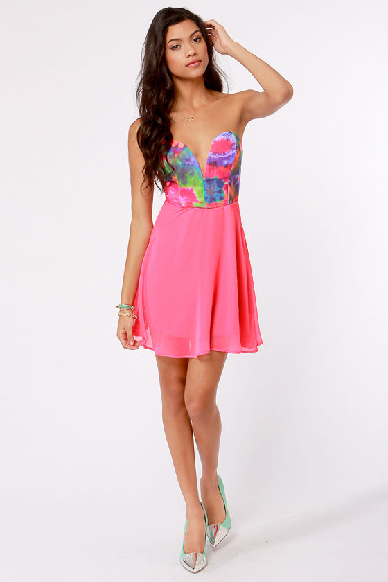 Remix and Match Strapless Hot Pink Print Dress at Lulus.com!