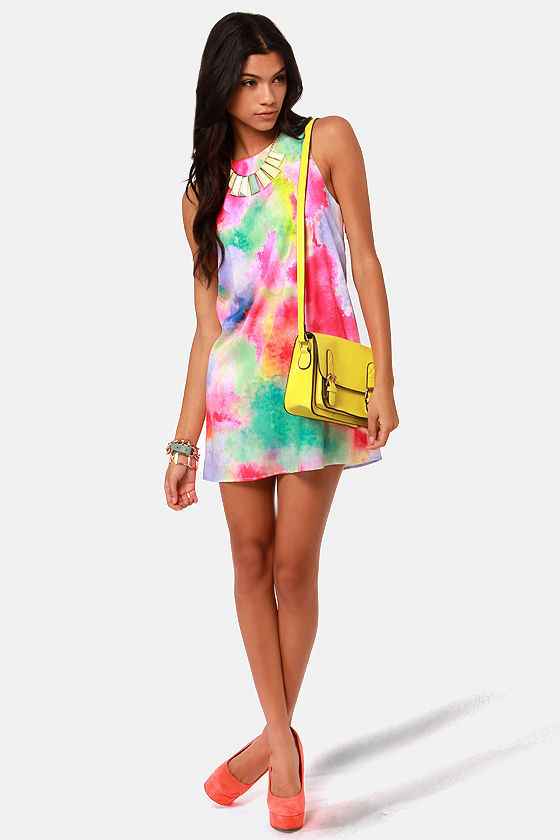 LULUS Exclusive Splash-ay! Shantay! Tie-Dye Print Shift Dress at Lulus.com!