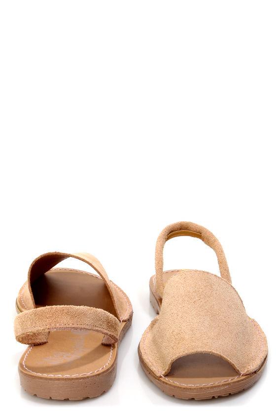 MTNG Tabar Serraje Nude Peep Toe Slingback Sandals at Lulus.com!