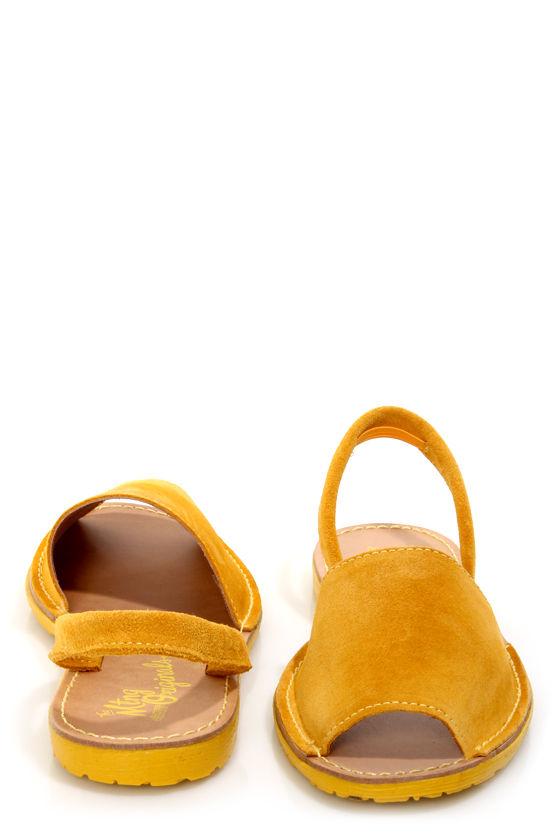 MTNG Tabar Serraje Yellow Peep Toe Slingback Sandals at Lulus.com!