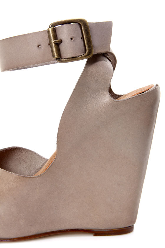 Sixtyseven Caroline Vachetta Taupe Peep Toe Wedge Sandals at Lulus.com!