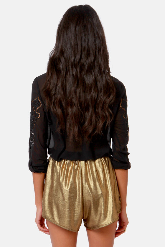 Mink Pink Blades of Glory Gold Shorts at Lulus.com!