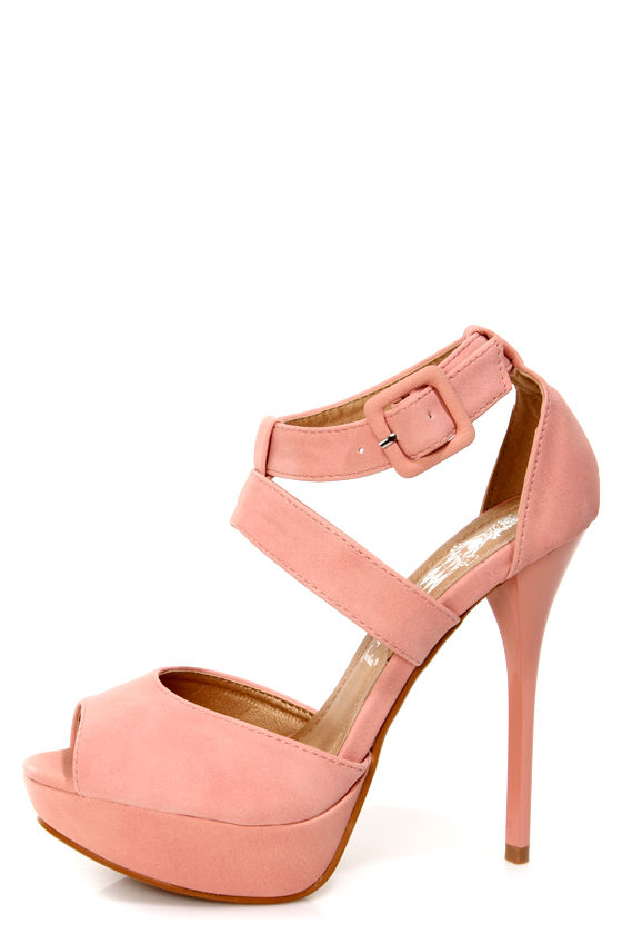 a326724c440 Cherry 1 Blush Pink Peep Toe Platform Heels -  29.00