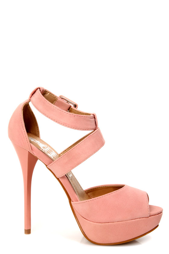 Cherry 1 Blush Pink Peep Toe Platform Heels at Lulus.com!