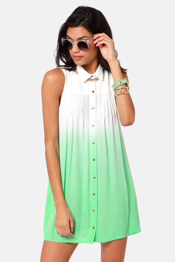 mink pink great white dress shirt dress mint green