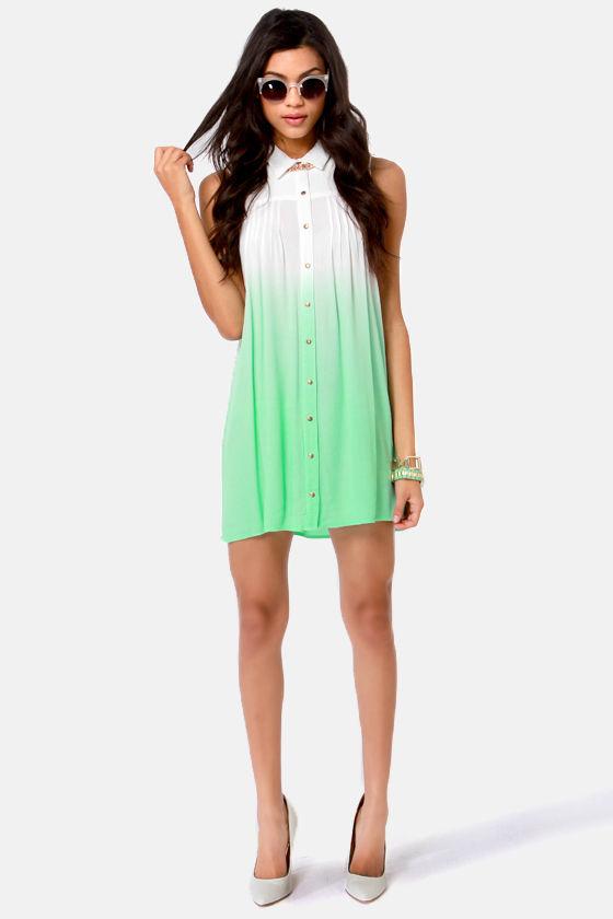 82889102b37e Mink Pink Great White Dress - Shirt Dress - Mint Green Dress - $87.00