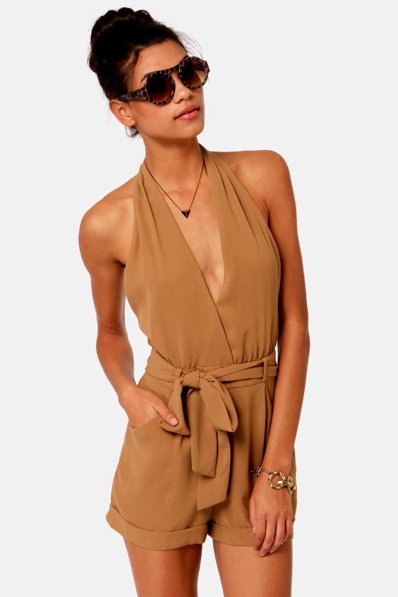 Very Veronica Brown Halter Romper at Lulus.com!
