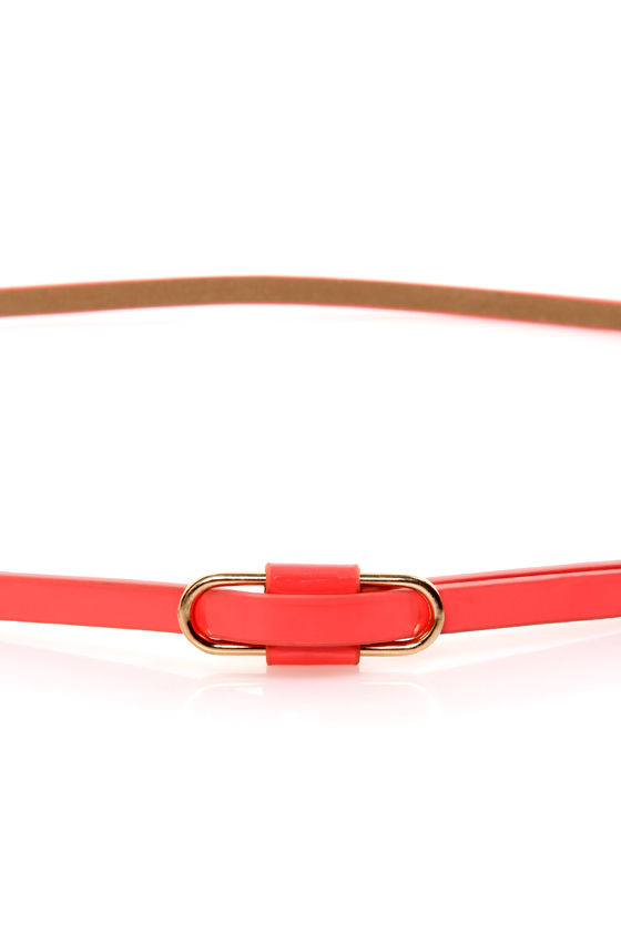 Vibe Coral Skinny Belt at Lulus.com!