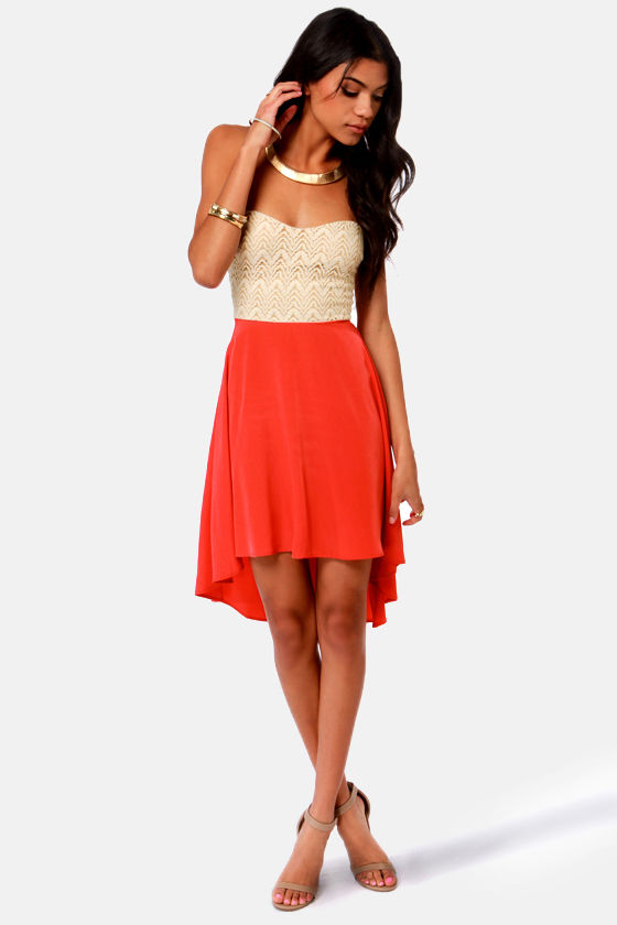 Cute Beige and Coral Red Dress - Lace Dress - Strapless Dress - $45.50