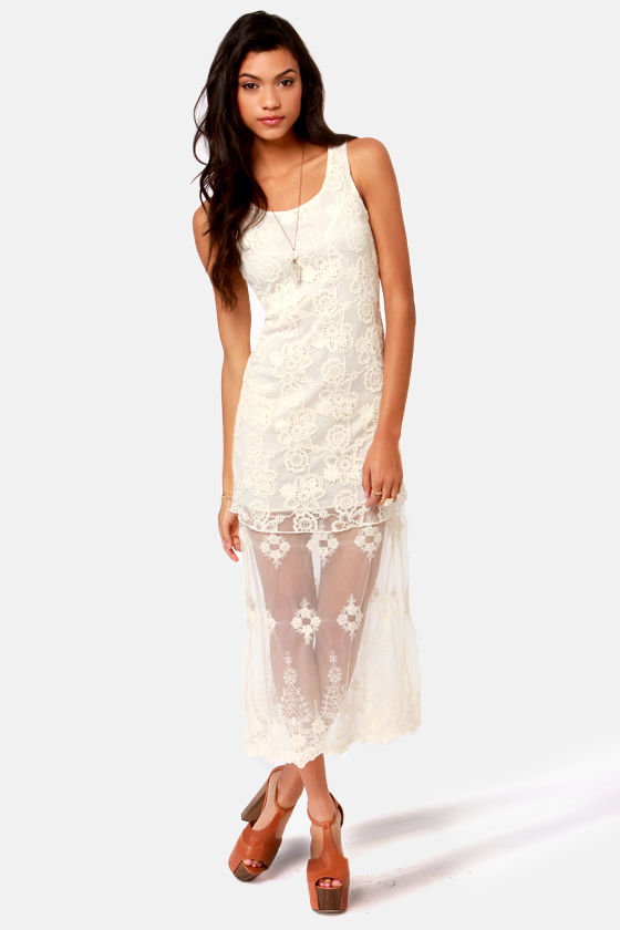 Tier For Two Cream Lace Maxi Dress at Lulus.com!