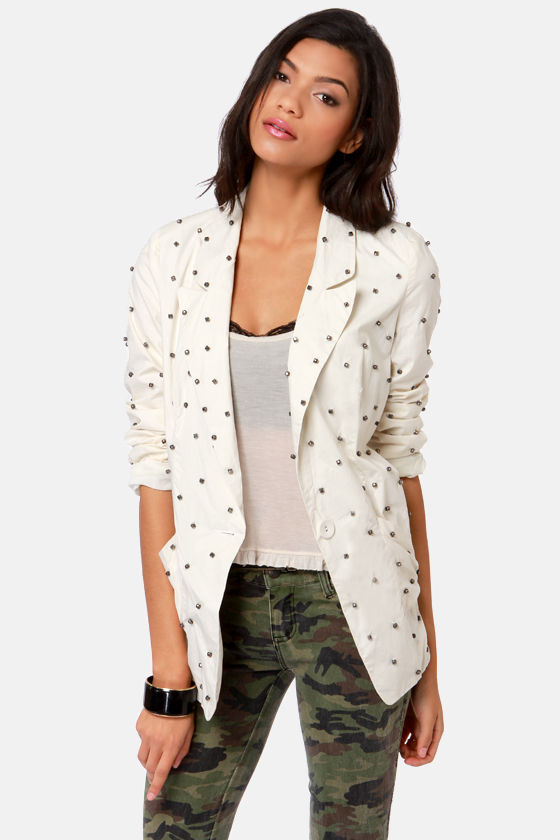 Highest Bead-er Beaded Ivory Blazer at Lulus.com!