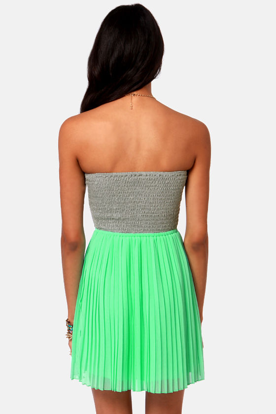 Roxy One Day Soon Strapless Grey and Mint Dress at Lulus.com!