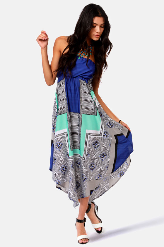 Roxy Floating By Strapless Blue Print Dress at Lulus.com!