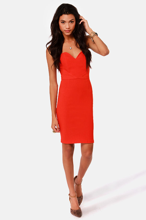 Sexy Strapless Dress - Little Red Dress - Bustier Dress - $38.50