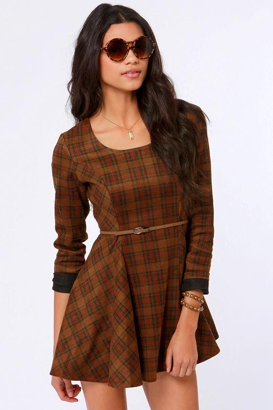 de9d26caaa Gypsy Junkies Alpha Dress - Brown Dress - Plaid Dress -  82.00
