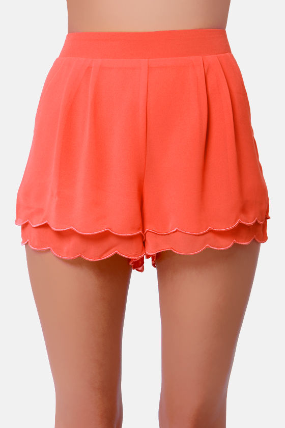 Scallop Poll Scalloped Coral Shorts at Lulus.com!