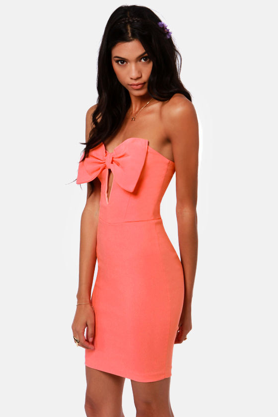 Bow Down Strapless Coral Dress at Lulus.com!