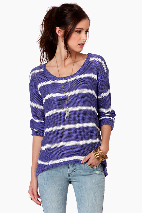 Cute Striped Sweater - Blue Sweater - White Sweater - $63.00