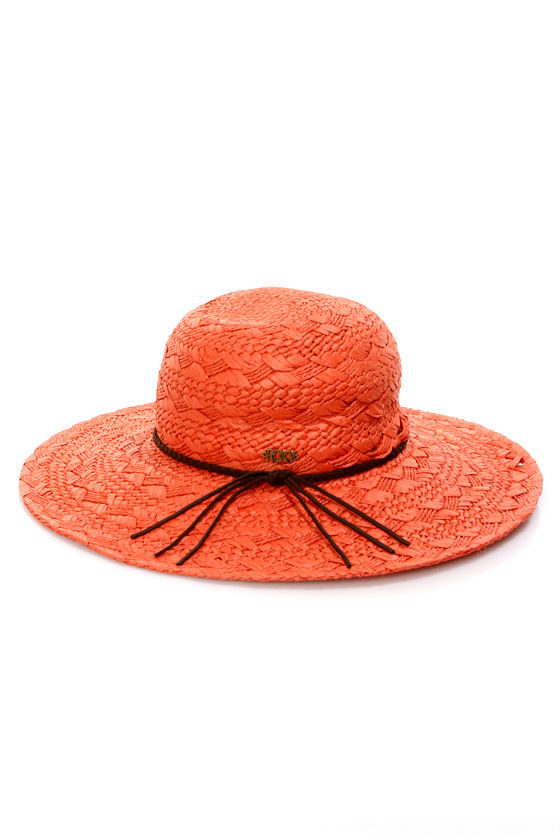 Roxy Summer Time Coral Straw Hat at Lulus.com!