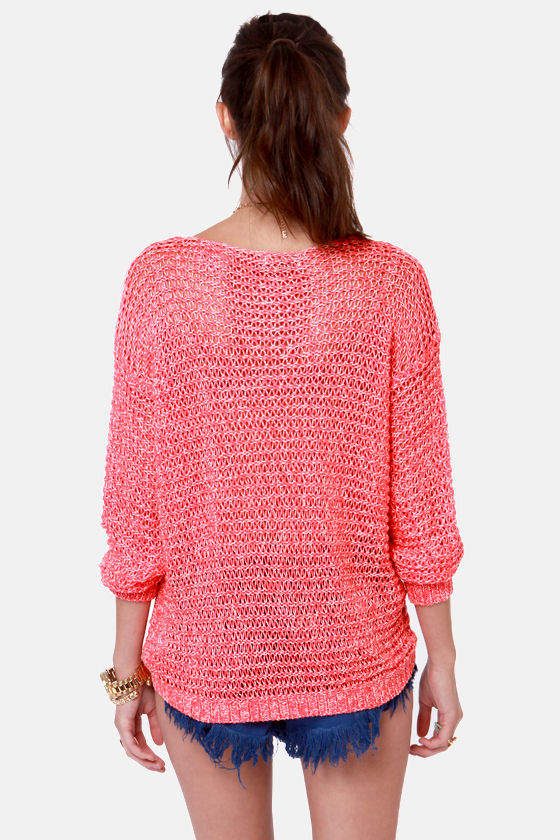 Nothing But Net Neon Coral and Cream Sweater at Lulus.com!