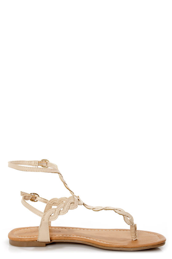 Subrina 32 Beige Braided Ankle Strap Thong Sandals at Lulus.com!
