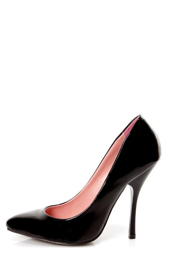 Shoe Republic LA Ethel Black Patent Pointed Pumps at Lulus.com!