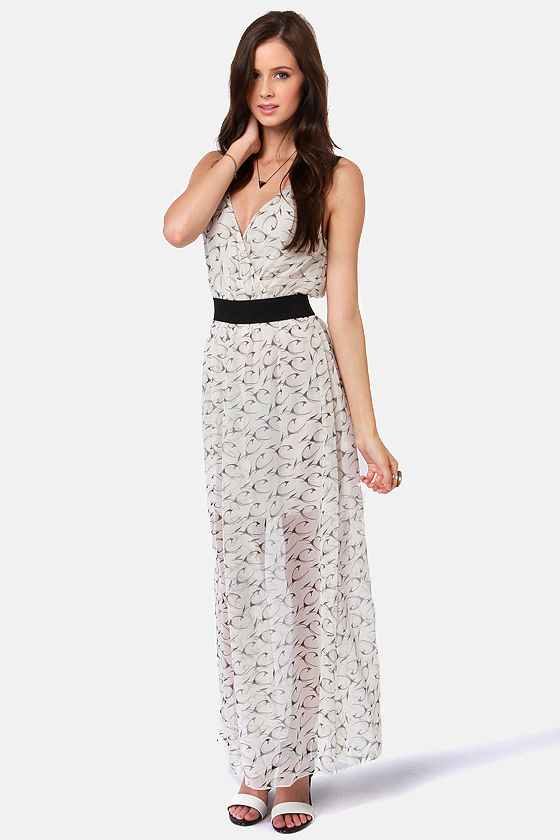 Costa Blanca French Lavender Ivory Chiffon Print Dress at Lulus.com!