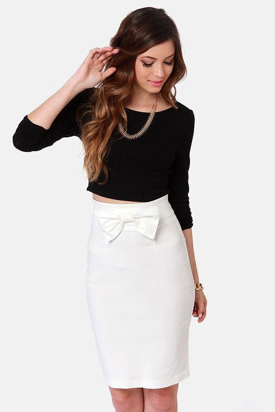 Cute Ivory Skirt - Pencil Skirt - Bow Skirt - $34.00