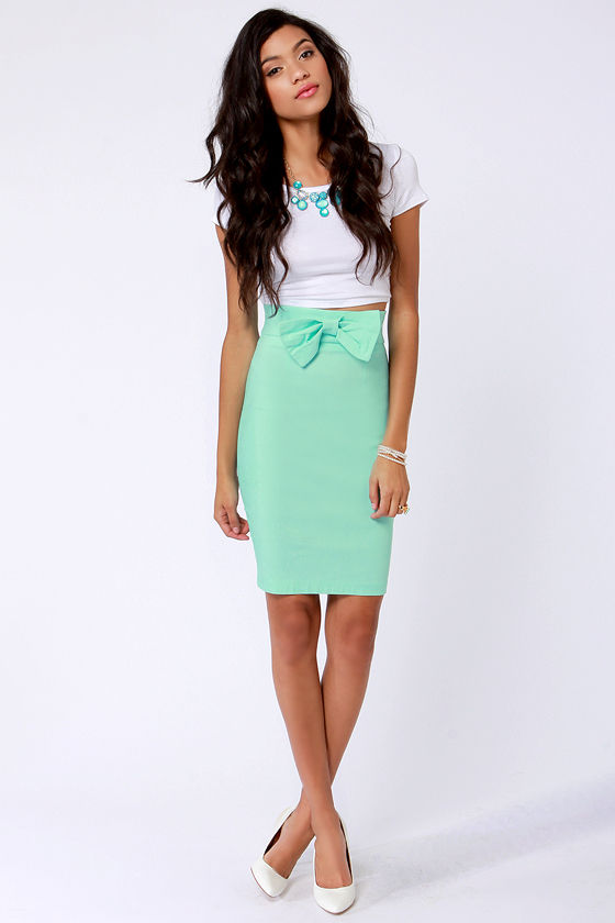 The Bow-ed and the Beautiful Mint Blue Pencil Skirt at Lulus.com!