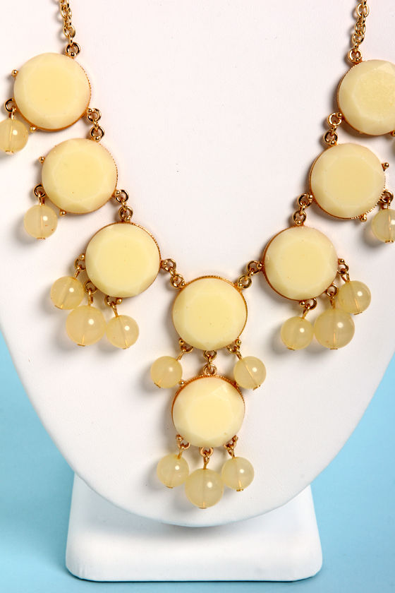 Bauble-y's World Pale Yellow Statement Necklace at Lulus.com!
