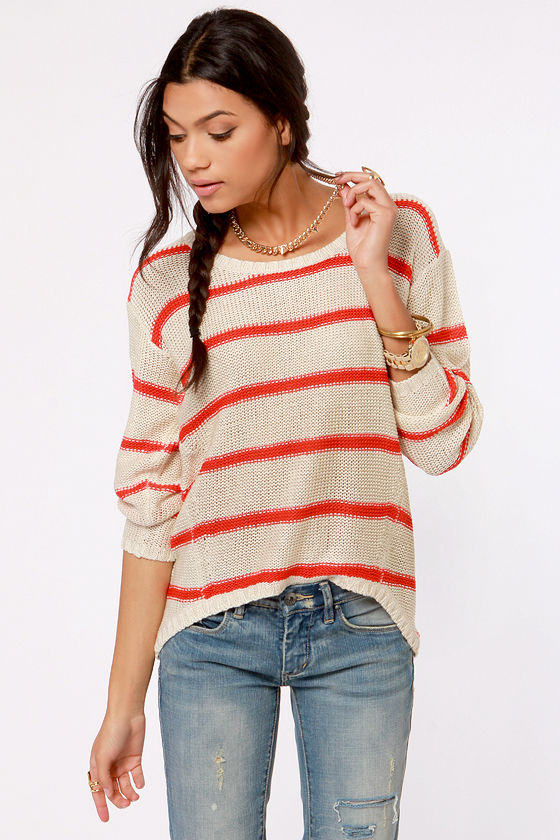 Just My Stripe Cream and Red Striped Sweater at Lulus.com!