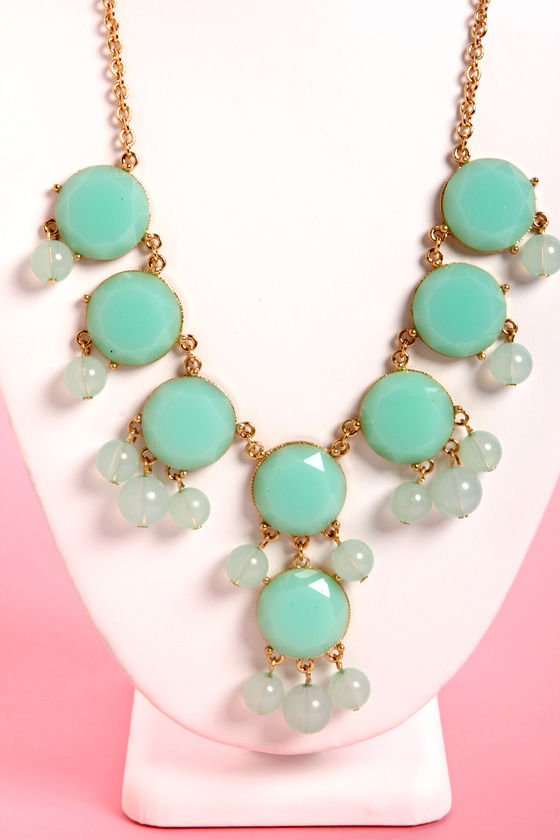 Bauble-y's World Mint Statement Necklace at Lulus.com!