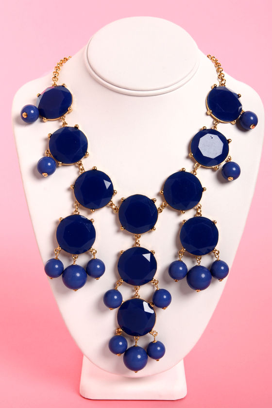Bubble Bee Dark Blue Statement Necklace at Lulus.com!