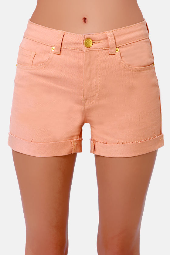 Costa Blanca Roller Rink High-Waisted Peach Shorts at Lulus.com!